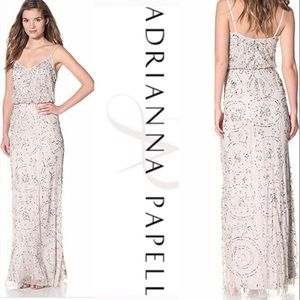 Adrianna Papell nude beaded long dress